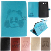 Cartoon Panda Pattern PU Leather Flip Wallet Tablet Case For Samsung Galaxy Tab E 9 6