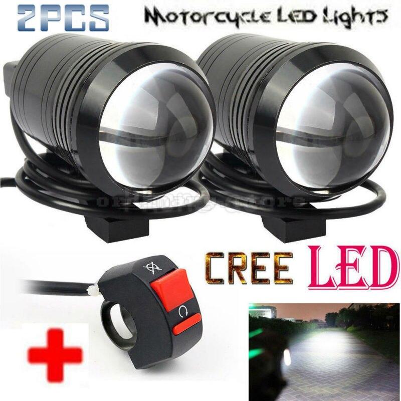 2 unids lente de ojo de pez U1 de la motocicleta del LED de trabajo Universal luz conducción niebla punto de la cabeza de la lámpara de la noche de seguridad + 1 unids gratis interruptor