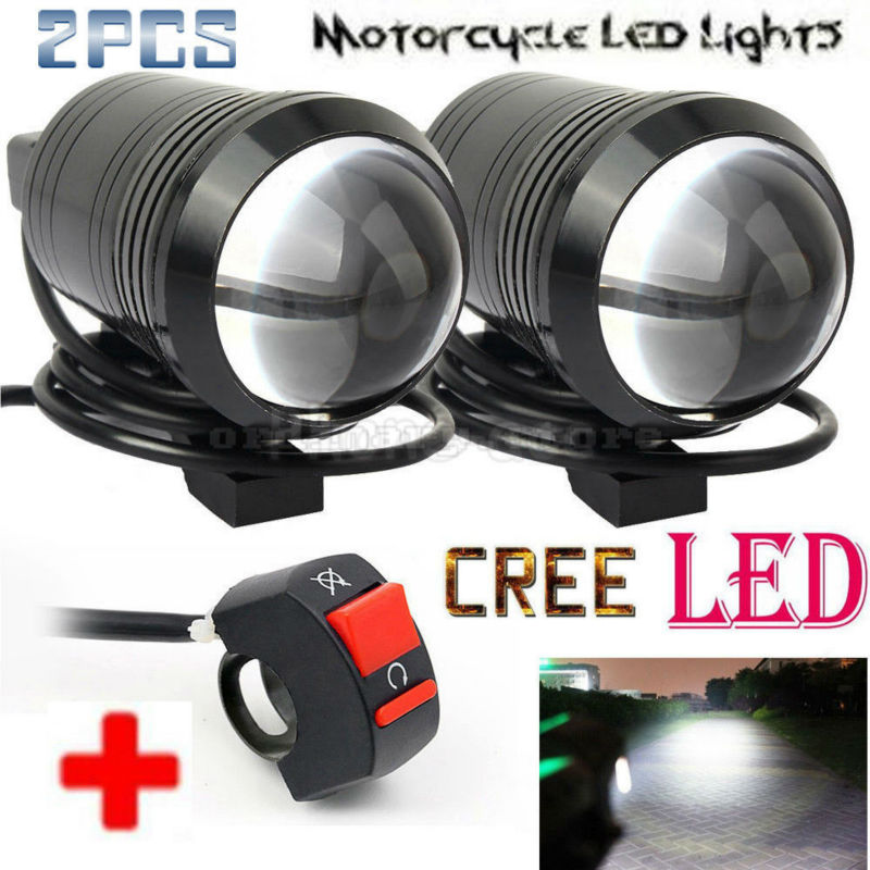 2PCS Fisheye Lens U1 LED Motorcycle Universal Work Light Headlight Driving Fog Spot Head Lamp Night Safety + 1pcs Free Switch
