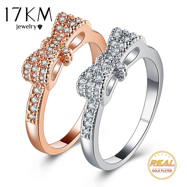 17KM Geometric Bowknot Rings For Women Fashion Crystal Cubic Zircon Ring Engagem