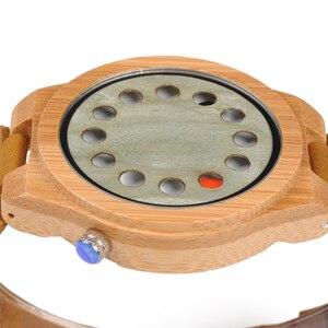 Image 4 - レロジオ masculino ボボ鳥メンズ腕時計手作りグリーン木製革バンドクォーツ腕時計受け入れるロゴドロップシッピング