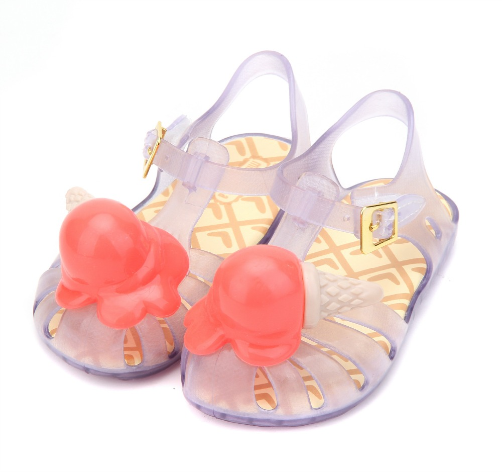 Mini Melissa Ice Cream Girl Sandals 2019 Summer Sandals Rain Shoes Melissa Sandals Breathable Soft Children Sandals Lovely