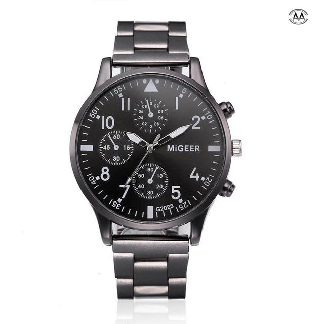 Fashion Man Crystal Stainless Steel Analog Quartz Wrist Watch Relogio Masculino