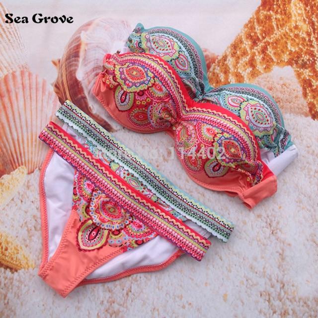 Women Bikini 2016 Sexy Padded Top Swimsuit Bikinis Sets Push Up Swimwear Women Biquini beachwear bathing suit