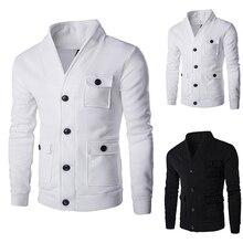 Men's Fashion Winter Warm 3 Pockets Cardigan Stand Collar Slim Fit Hoodie Coat Jacket