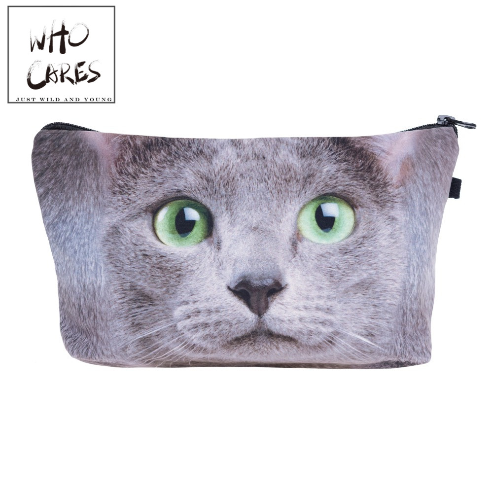 Green eye cat big Cosmetic Bags 3D Printing Travel Makeup bag Small bags Gift trousse de maquillage make up bag pencil case unicorn 3d printing fashion makeup bag maleta de maquiagem cosmetic bag necessaire bags organizer party neceser maquillaje