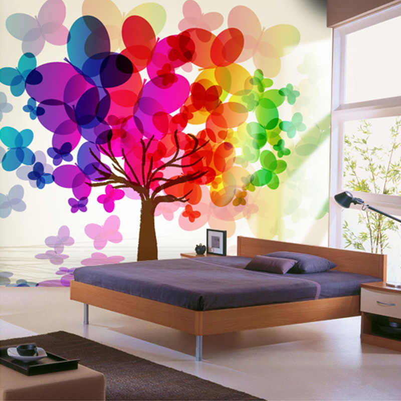 Customized Any Size 3D Wall Mural Wallpaper For Bedroom Wall Painting Colorful Trees Non-woven 3D Photo Wallpaper Paper