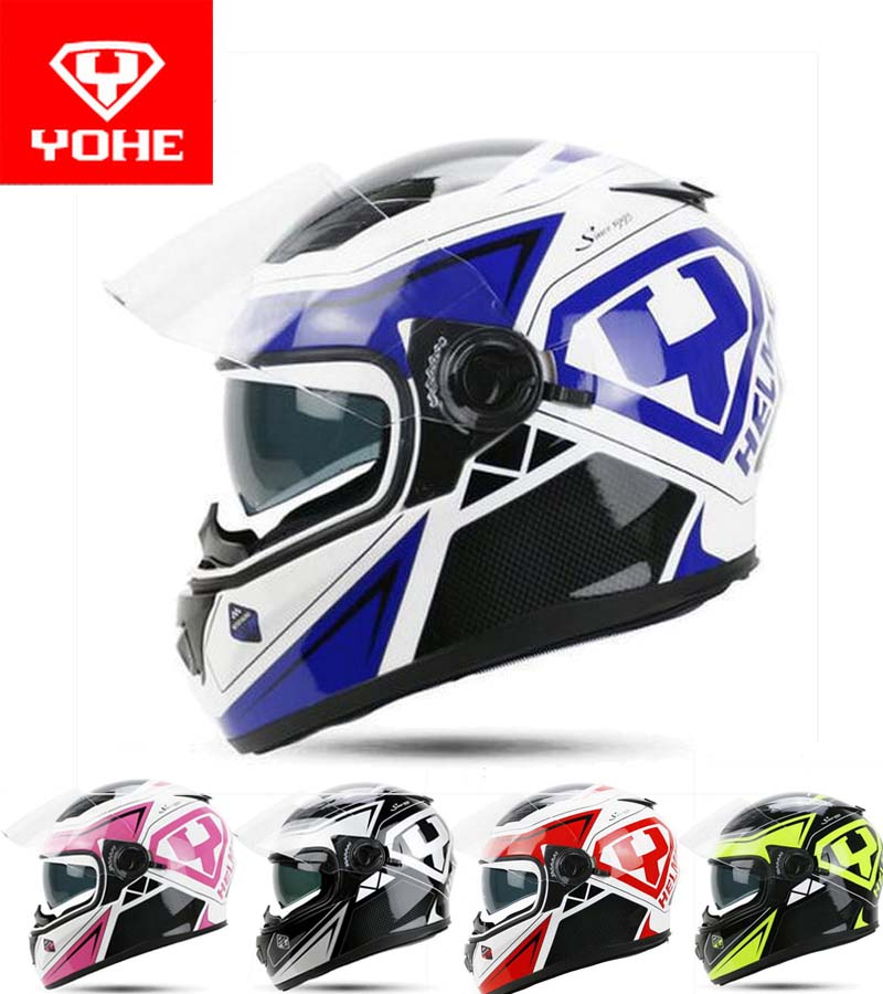 2017 New YOHE Full Face Motorcycle helmet YH-970 double len knight MOTOR Racing helmets made of ABS / PC lens Racing color 2017 new knight protection gxt flip up motorcycle helmet g902 undrape face motorbike helmets made of abs and anti fogging lens