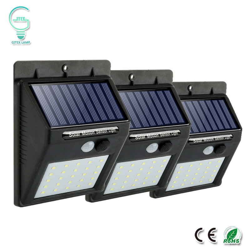 Rechargeable Solar Light 25 30 LED Waterproof PIR Motion Sensor Security Wall Light Outdoor Emergency Solar Lamp