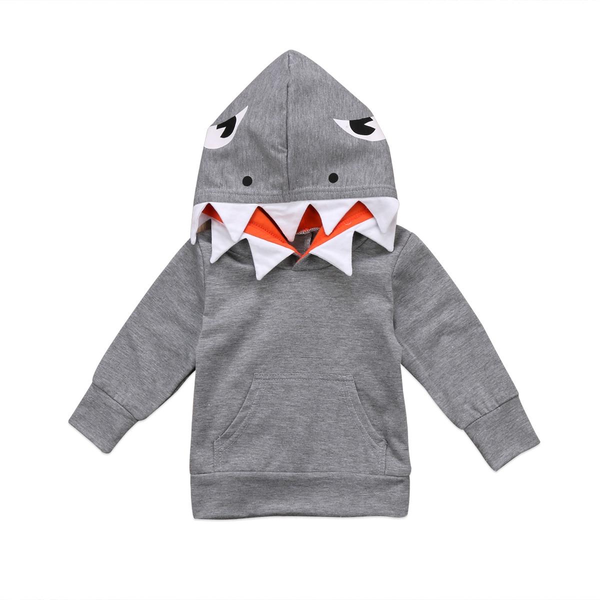 Cute Toddler Kids Boys Shark Face Hooded Tops T shirt Coat Outerwear 2017 New Casual Large Pocket Tee Shirt asymmetric gingham pocket shirt