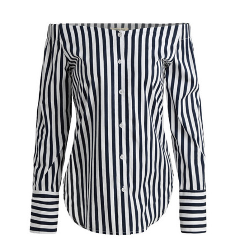 Fashion Autumn Women Sexy Tops Off Shoulder Long Sleeve Vertical Stripe Shirt Vintage Ladies Girls Loose Casual Blouse H 1