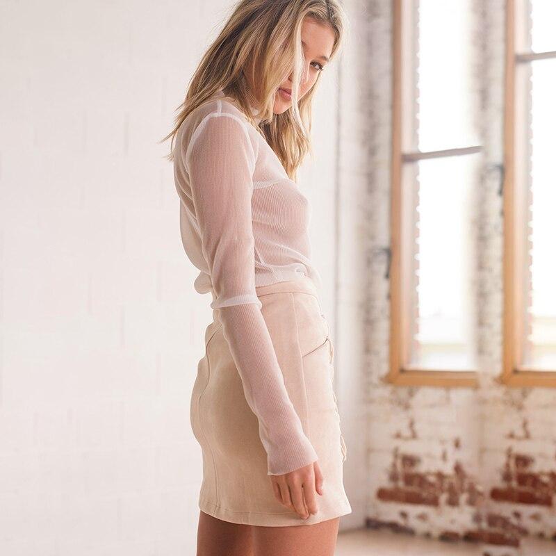 Women High Waist Tight Suede Lace Up Skirt Thick Pencil Skirt Preppy Mini Skirt Saias Na Altura Do Joelho Chamois Leather Skirts