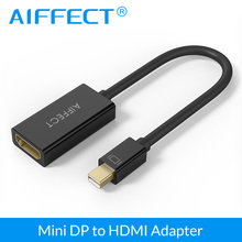 AIFFECT Mini DP to HDMI UHD Adapter DisplayPort Male Thunderbolt Port Compatible Female Cable - Black White