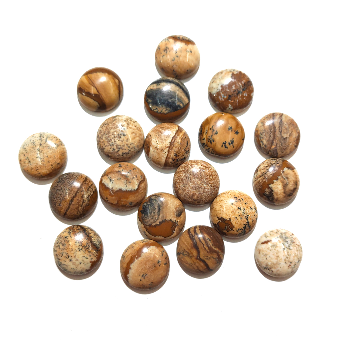 10 PCS Picture Stone Natural Stones Cabochon 12mm 14mm 16mm 18mm 20mm Round No Hole for Making Jewelry DIY