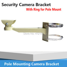 Universal Pole Mounting Bracket holder Arm Base for CCTV Security Camera Bracket support clamp With Ring For Pipe LamPost Mount
