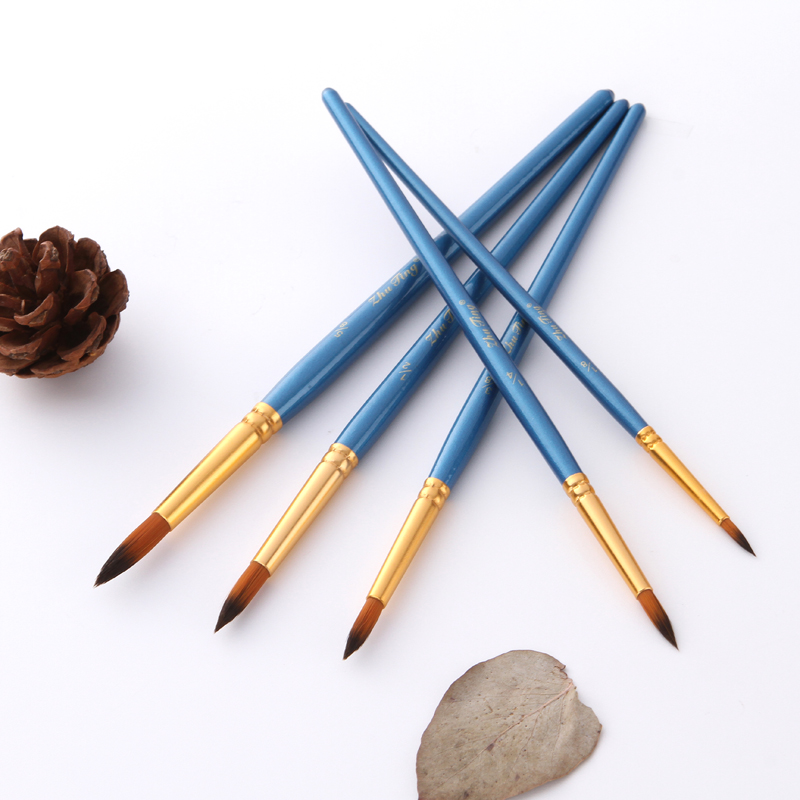 5Pcs/Set Watercolor Gouache Paint Brushes Round Pointed Tip Thin Hook Line Pen Nylon Hair Painting Brush Set Art Supplies