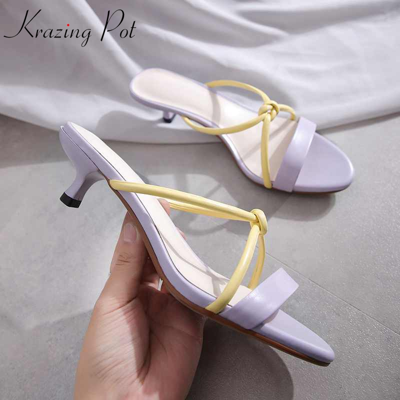 Krazing pot dress genuine leather stiletto med heels streetwear gladiator peep toe mixed color vintage design cute sandals L01-in Middle Heels from Shoes    1
