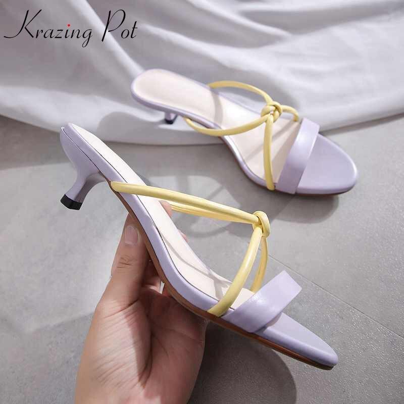 Krazing pot vestido de cuero genuino stiletto med tacones streetwear gladiador peep toe color mixto vintage diseño cute sandalias L01-in Sandalias de mujer from zapatos    1