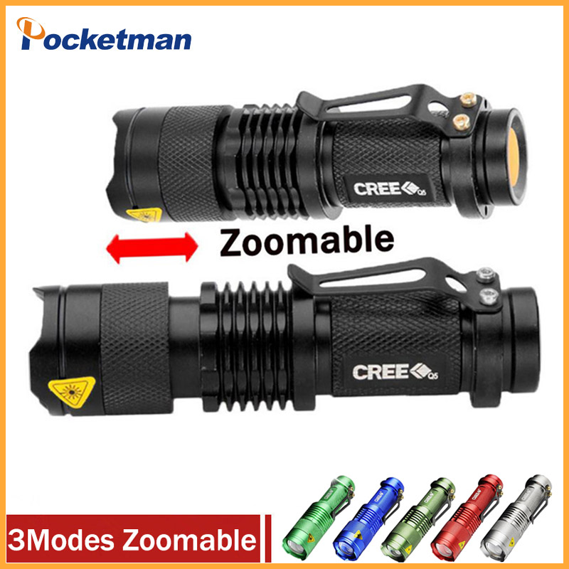 все цены на High-quality Mini LED Flashlight Q5 2000LM Powerful Flashlight LED Laterna 3Modes Zoomable Portable 6Colors Torch онлайн