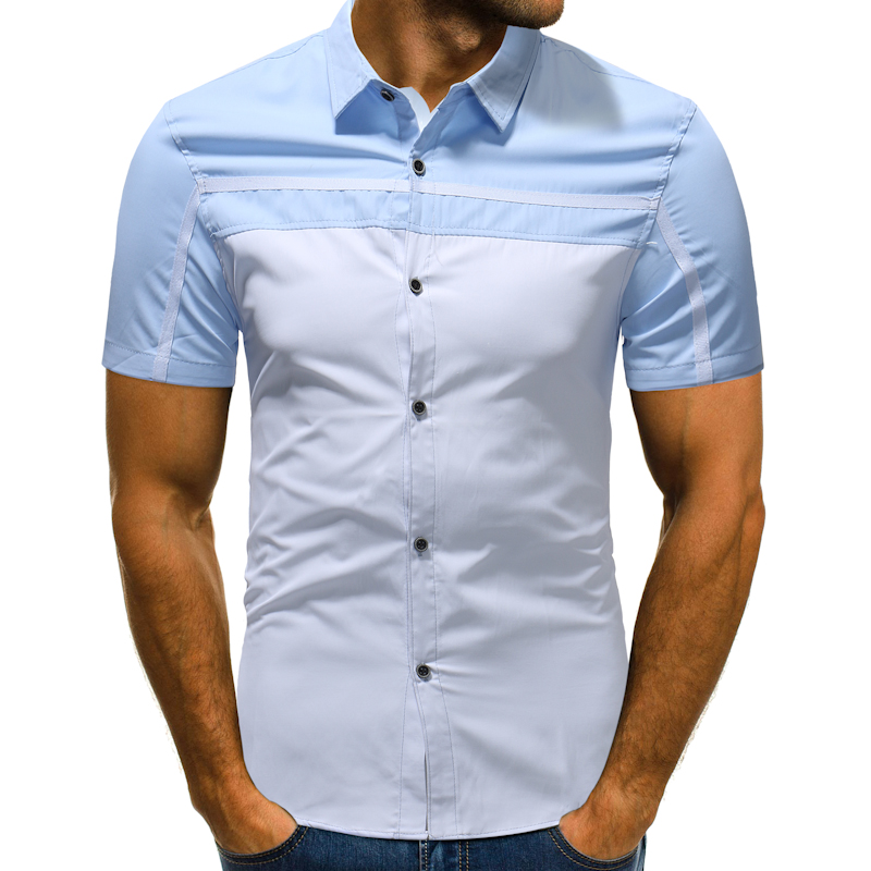 Mens short sleeve Shirt fashion brand Casual shirt Personality patchwork color Slim Fit Male Shirts men clothes Tops Asian size