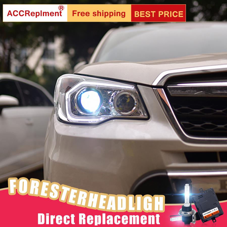 Image 2 - 2Pcs LED Headlights For Subaru Forester 2014 2018 led car lights Angel eyes xenon HID KIT Fog lights LED Daytime Running LightsCar Light Assembly   -