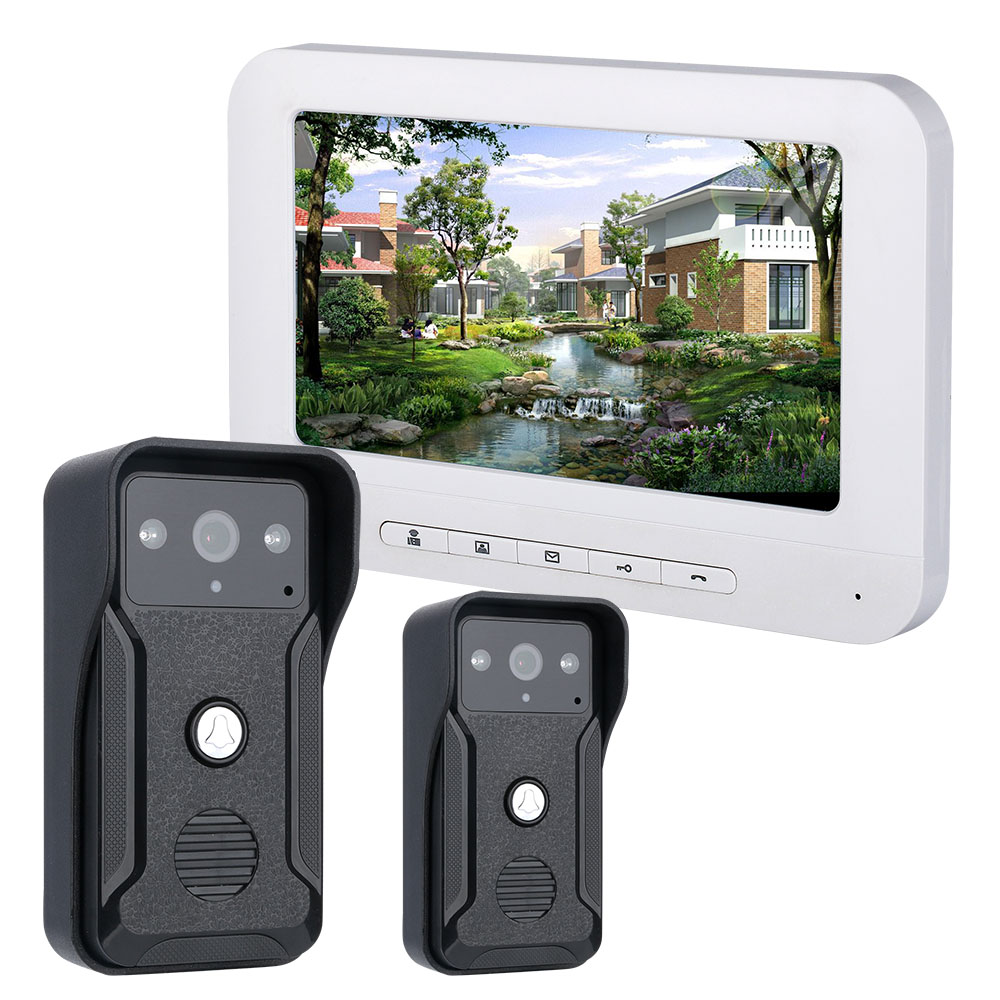Yobang Security Video Intercom Doorbell Door Phone System 7inch Colour LCD IR Night Vision Intercom System No Battery Waterproof