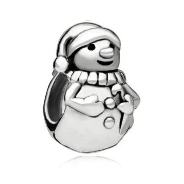 Fit Pandora charm bracelets Charms Gifts Snowman Bead 925 Sterling Silver Barrel Charm Bead Beads for jewelry making