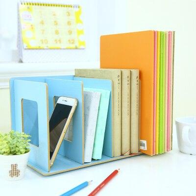 Creative DIY Book Shelf Wood Desktop Storage Shelf Organizer Box Office  File Magazine Rack Holders