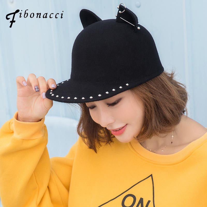 Fibonacci cat ears Fedoras high quality fashion wool felt black hat Metal rivet decoration women fedora equestrian cap vintage wool felt bucket hat