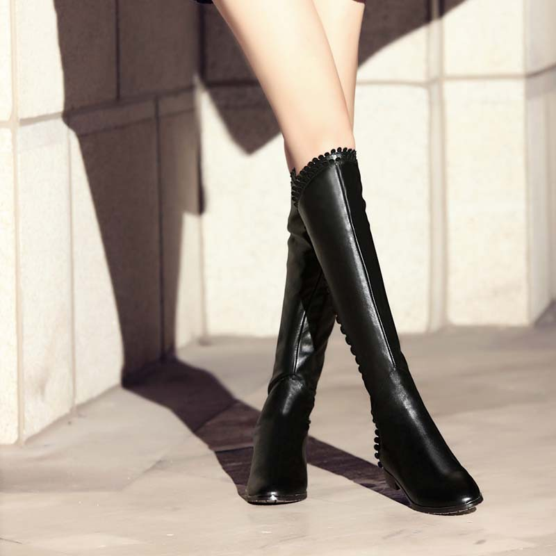 ENMAYLA Black White Shoes Woman Autumn Spring Fashion Ladies Laciness Knee High Boots Women 39 s Boots Flats Motorcycle Boots in Knee High Boots from Shoes