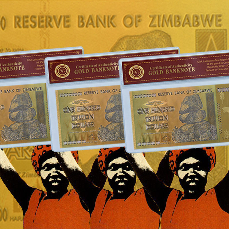 "Zimbabwe En Hundred Trillion Dollars Guld Sedel Pläterad Med 99,9% Metall Pure Gold ""COA"""
