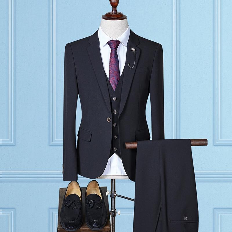 fashion 2018 beige mens suits wedding groom plus size 4xl casual male suits 3 pieces (jacket+pant+vest)