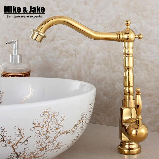 Fashion golden faucet antique kitchen mixer basin mixer vintage sink faucet tap vegetables basin sink mixer