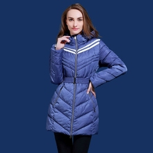Women's winter jacket slim long warm coat Russian and European Brand blue and brown jacket plus size s-3XL Q320