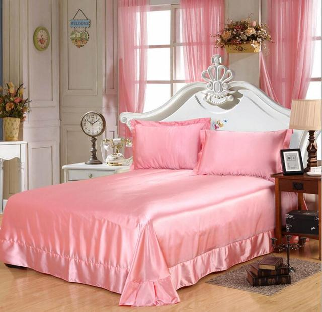 200*230/250*250cm solid color Flat Bed Sheet pink imitated silk Smooth satin bedSheet bedclothes Bed Cover Pillowcases 15 color