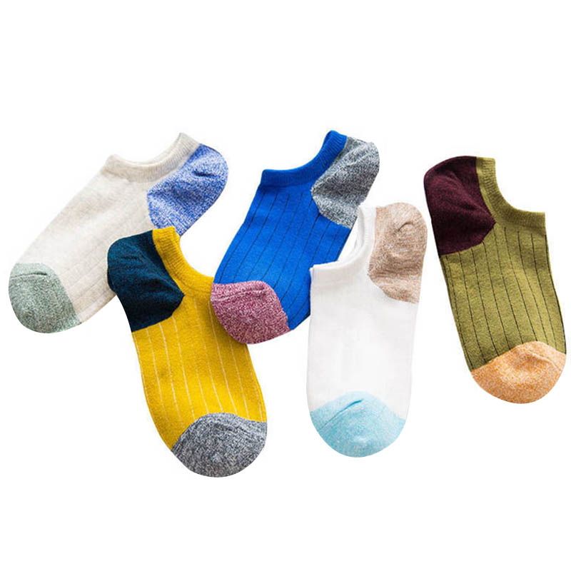 5 Pair Men Sock Funny Casual Men Socks Stripe Colorful Splicing Happy Man Art Funny Clothing Fashion Designer Style Cotton Sox