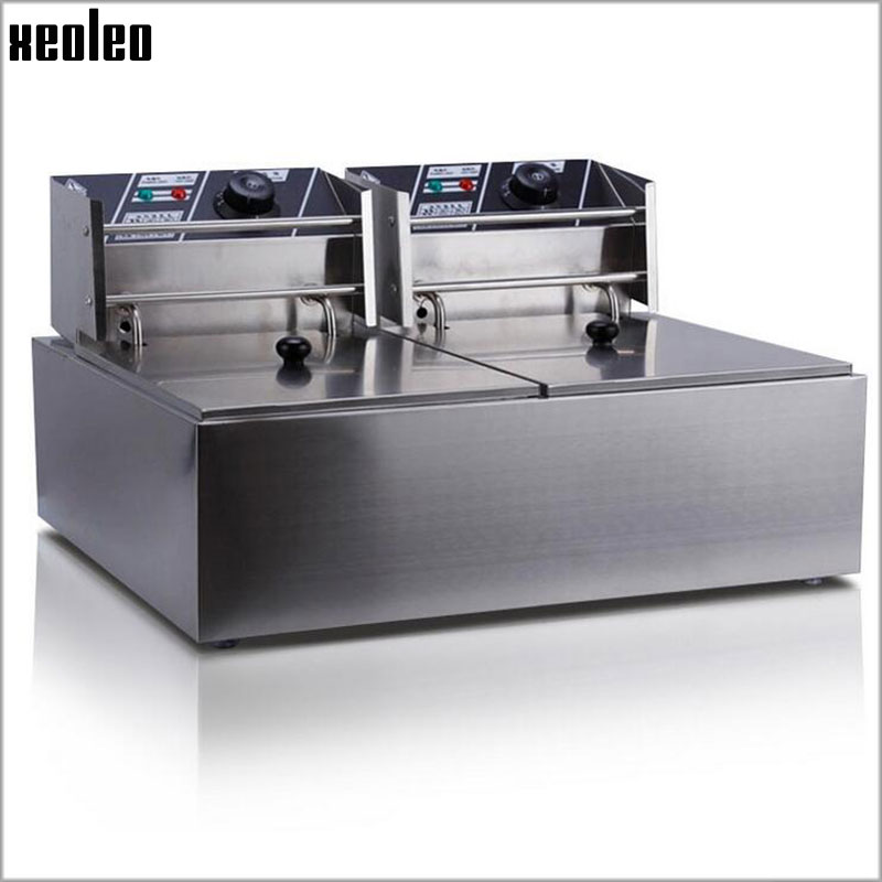 XEOLEO Commercial Fryer Double tank Electric Fryer 2500W*2 Deep fryer Stainless steel French fries machine fried chicken 220V commercial double screen cylinder electric deep fryer french fries machine oven pot frying machine fried chicken row eu us plug