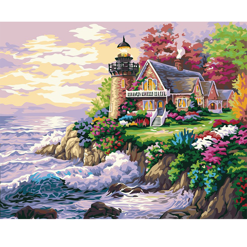 Frameless Seaview And House Painting DIY Digital By Numbers Modern Wall Art Hand Paint Oil Home Decor Artwork