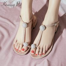 4e078beae Krazing Pot new arriva lvelvet shoes flip flop low heel diamond crystal  woman beauty office lady wholesale plus size sandals L03