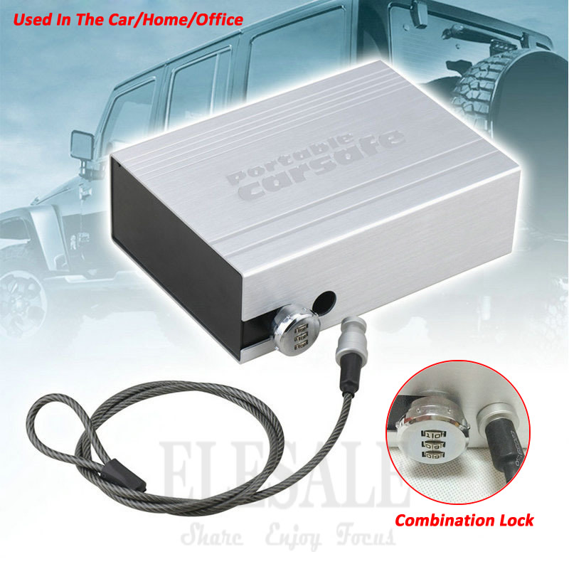 New Portable Car Safes Box Combination Lock 3-Digital Password Home Office Car Jewelry Cash Pistol Storage Boxes 210*152*69 Mm