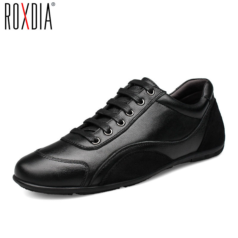 ROXDIA genuine leather first grade cow leather men's flats spring autumn winter men casual flat man shoes plus size 39-48 RXM040 цены онлайн