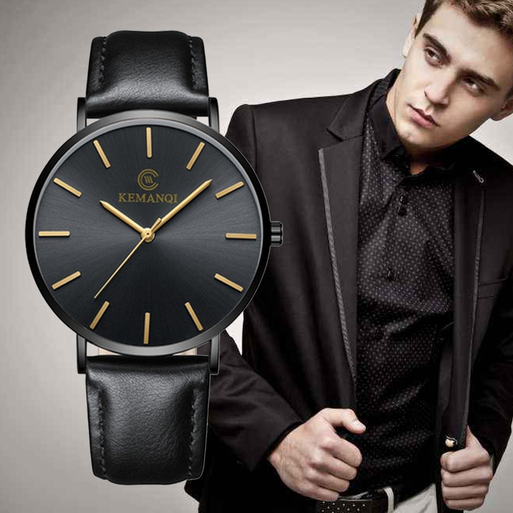 Ultra-thin Fashion Men Date Alloy Case Synthetic Leather Analog Quartz Sport Watch Mens Watches Top Brand Luxury Masculino Reloj Men's Watches