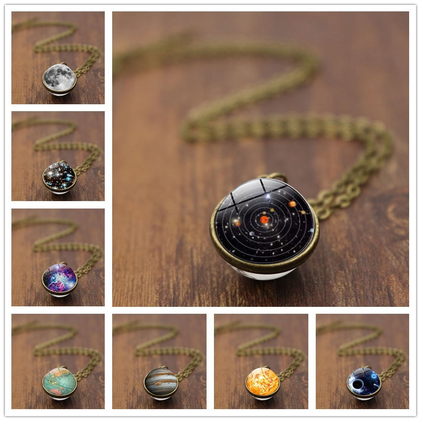New Handmade Universe Necklace For Women Men Vintage Double Sided Glass Ball Luminous Couple Pendant Necklace Jewelry Lover Gift