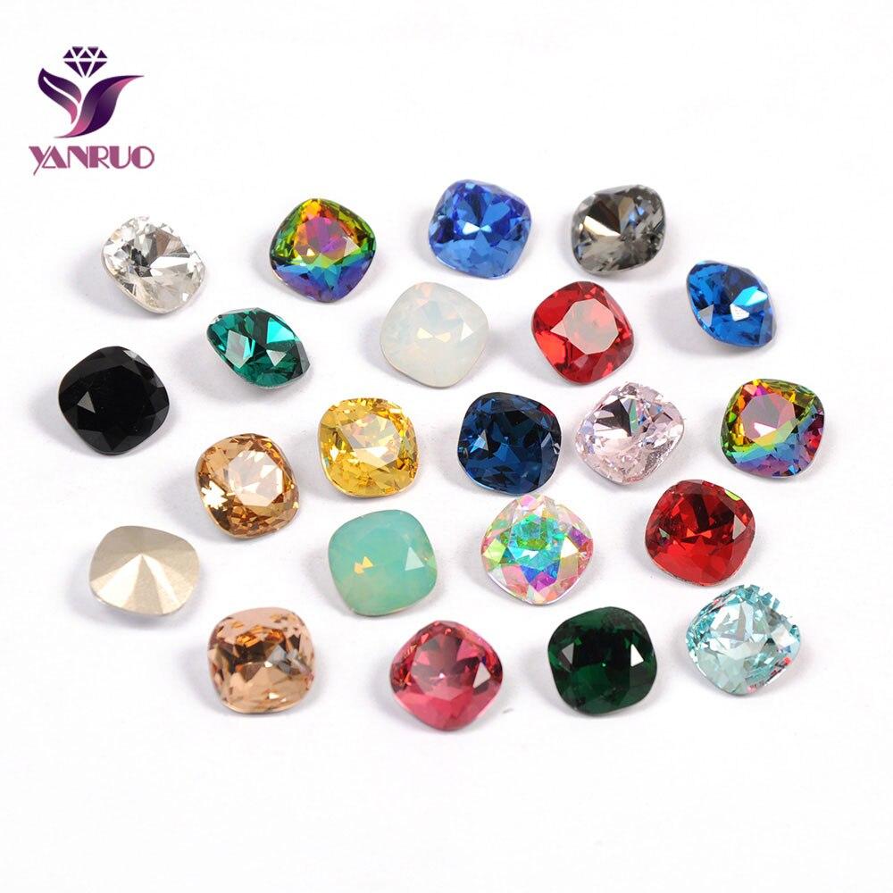 YANRUO 4470 Cushion Cut Colors Fancy Rhinestones Sewn Crystals For Needlework Wedding Dress Applications Diamond Stones