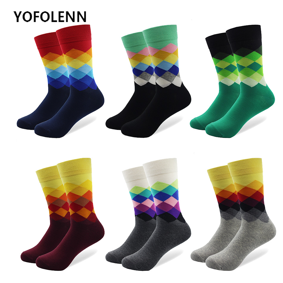 6 pair/lot Plus Size Casual Colorful Happy Socks Combed Cotton Men Funny Wedding Socks British Style Plaid Calcetines Diverti