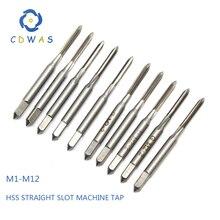 1 шт. M1 M1.2 M2 M2.5 M3 M4 M5 M6 M7 M8 M9 M9 M10 M11 M12 метрических из быстрорежущей инструментальной стали HSS прямой шлиц Метчик