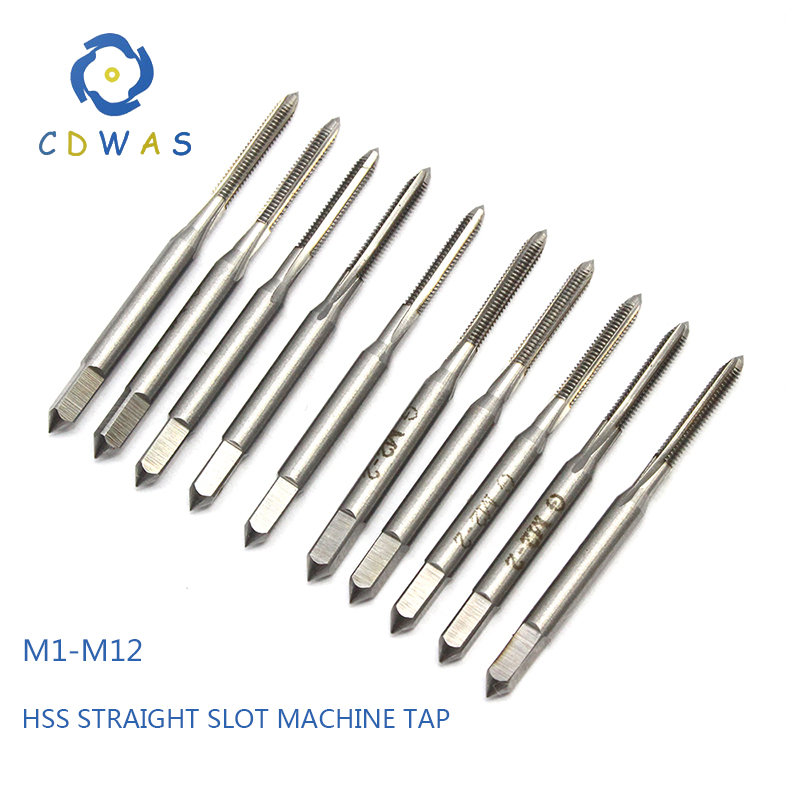 1pc M1 M1 2 M2 M2 5 M3 M4 M5 M6 M7 M8 M9 M9 M10 M11 M12 metric high speed steel HSS straight slot machine tap in Tap Die from Tools