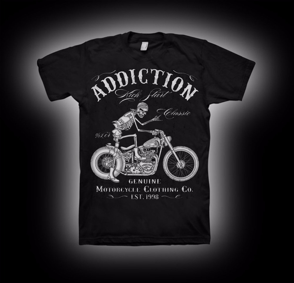 2018 new summer Cotton Cool Design 3D Tee   Shirts   Biker   T  -  Shirt   Motorcycle Start V Twin Vintage Rigid Frame   T     shirt