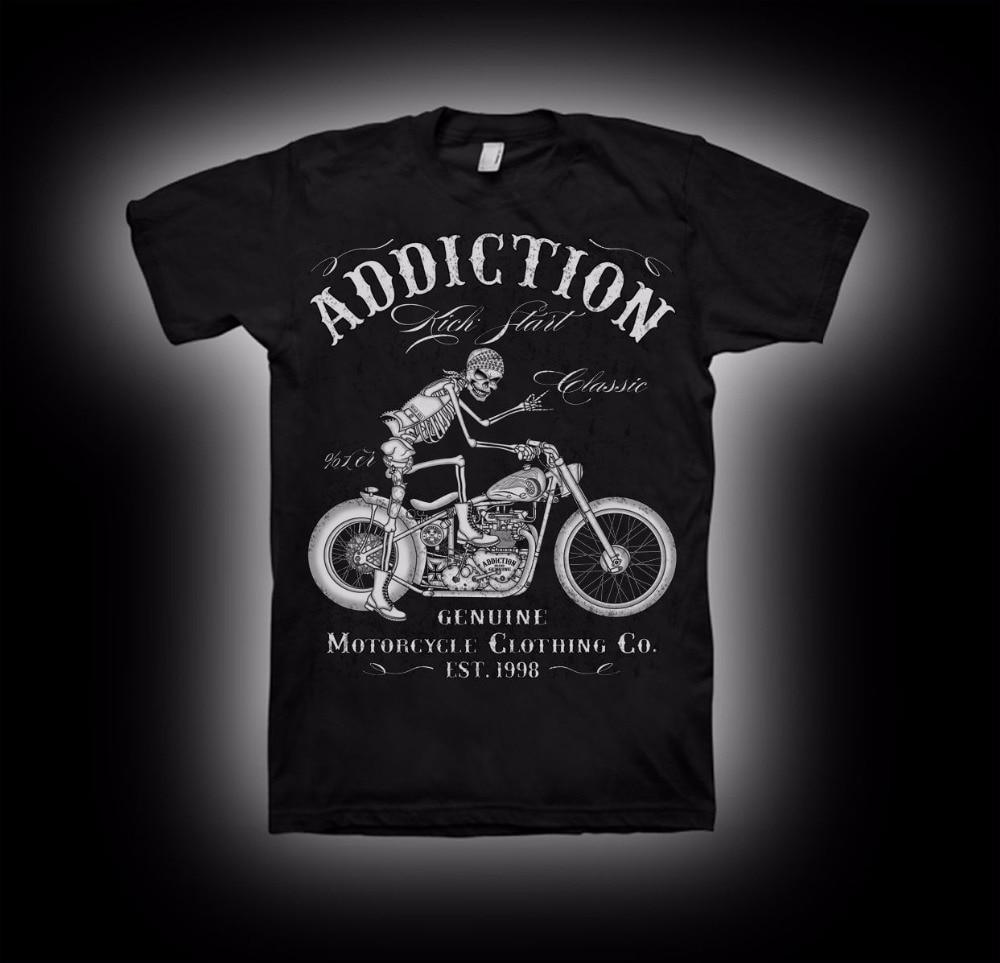 2018 nuevo verano algodón cool design 3D tee Camisas camiseta del motorista motocicleta arranque V doble vintage rígido Marcos camiseta