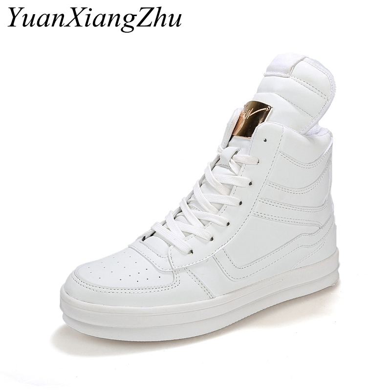цены Men 's High White Shoes 2018 New Korean Hip-Hop Casual Shoes Men White/Black Hot Fashion Lace Large Size Men Shoes 39-45 Size